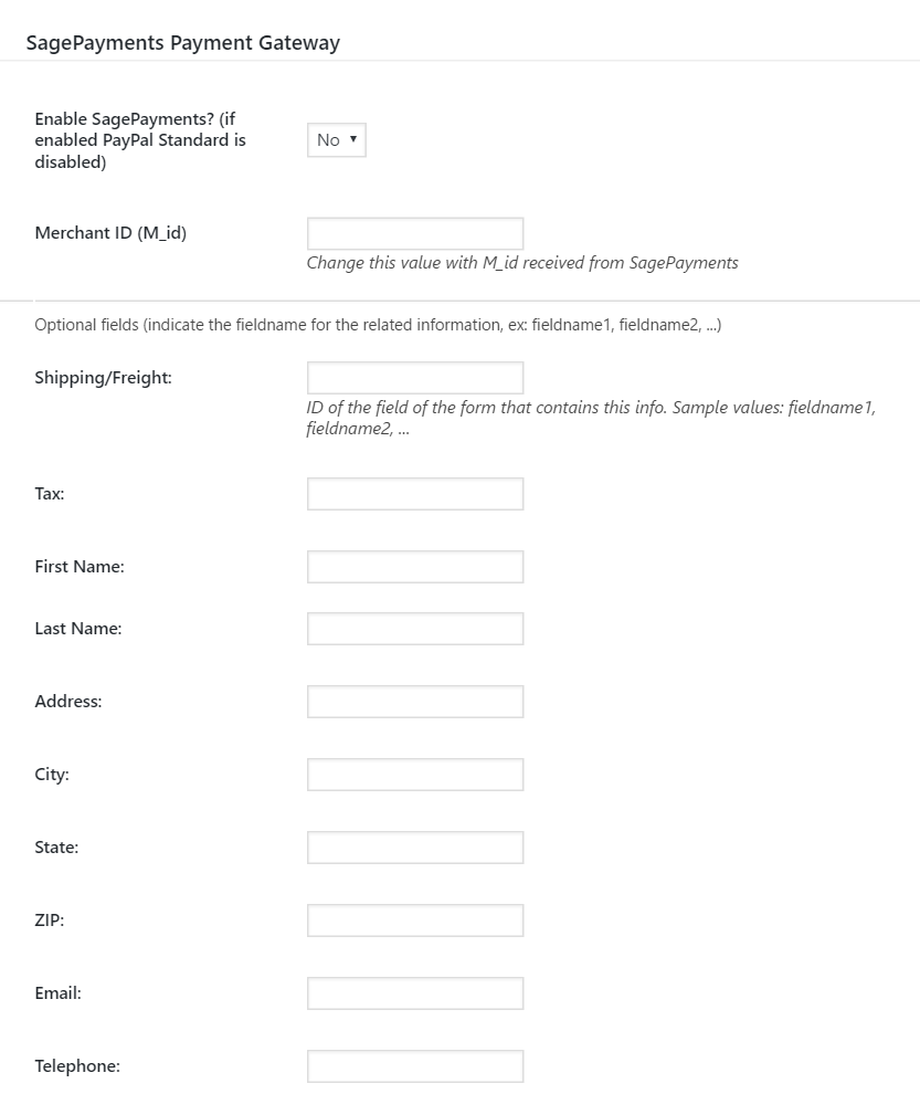 Sage Payment form settings