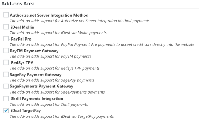 TargetPay (iDeal) Add-On