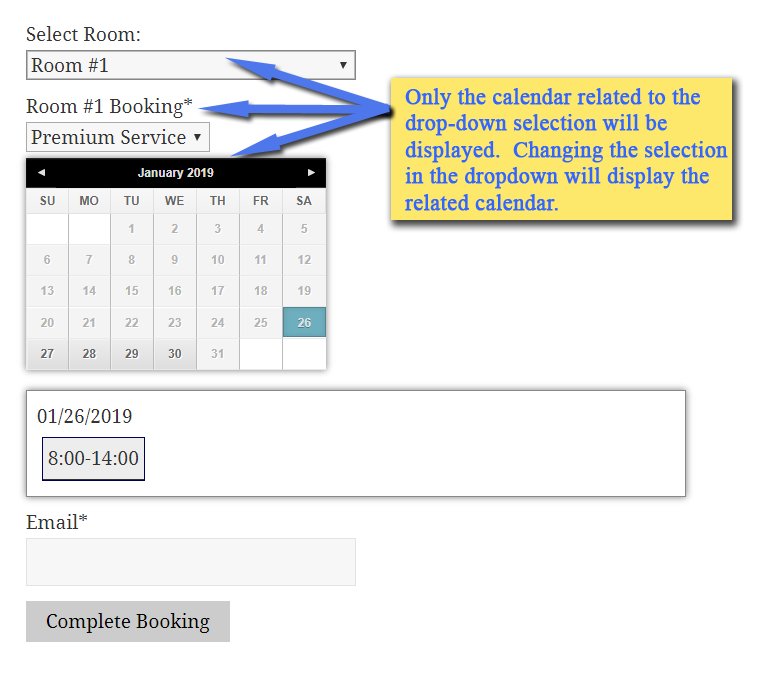 booking form with conditional logic