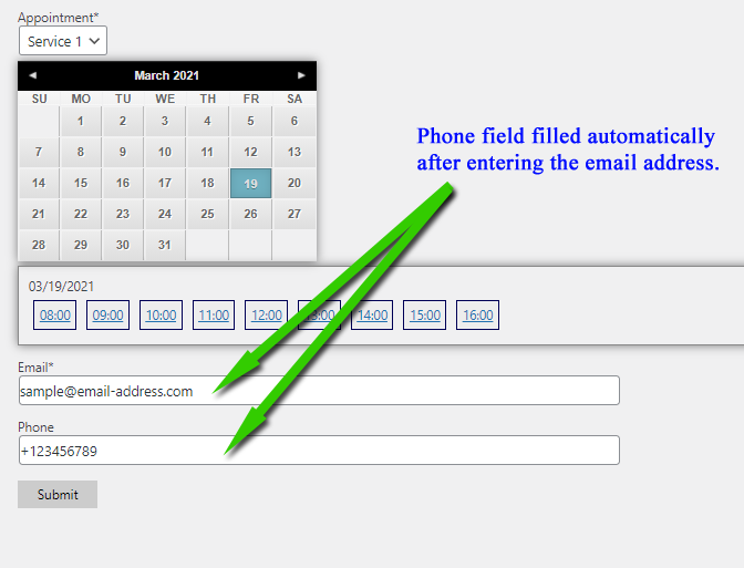 automatically filled field