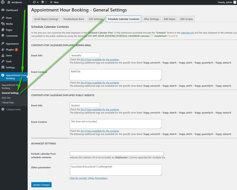 schedule data settings