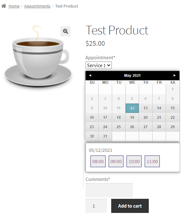 appointment product page