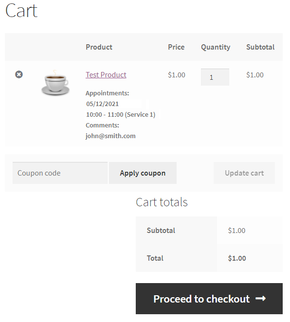 woocommerce appointment cart
